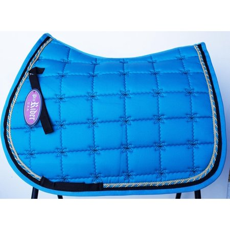 Horse Quilted ENGLISH SADDLE PAD Tack Trail Riding Contoured Turquoise