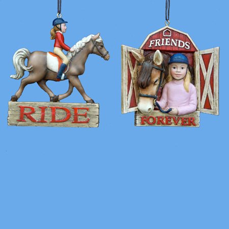 Pack of 12 Equestrian Girl with Horse & Horse in Barn Christmas Ornaments 3.5