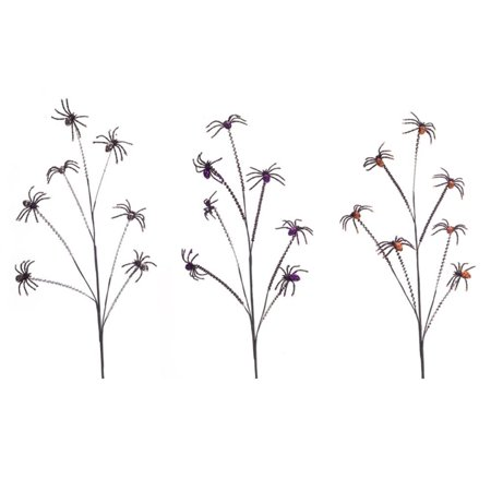 Club Pack of 12 Black and Purple Halloween Themed Spider Spray 31