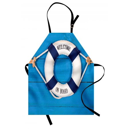 Buoy Apron Welcome on Board Sign on Painted Timber Wall Life Buoy Tightened with Rope, Unisex Kitchen Bib Apron with Adjustable Neck for Cooking Baking Gardening, Blue Navy Blue White, by Ambesonne - Bake On Paint