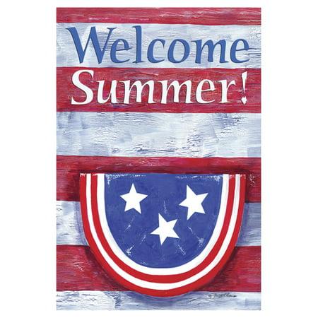 Toland Home Garden Bunting on Striped Welcome Summer Flag (Home Summer Garden)