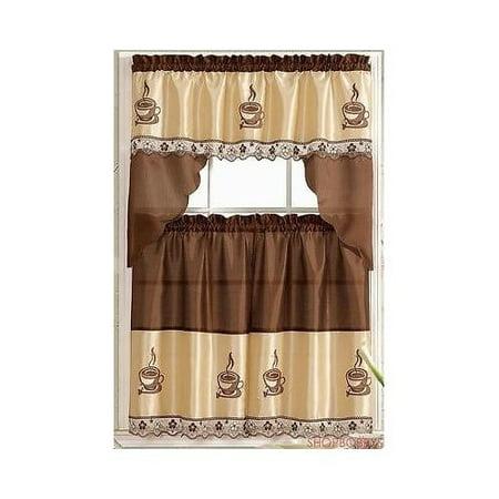coffee embroidered kitchen curtain tiers & swag set brown-beige - 60x36 & 30x36 - walmart