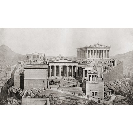 The Acropolis Athens Greece As It Would Have Appeared In Ancient Times From The Book Harmsworth History Of The World Published 1908 Canvas Art - Ken Welsh  Design Pics (38 x (This Computer Appears To Have A Non Standard)