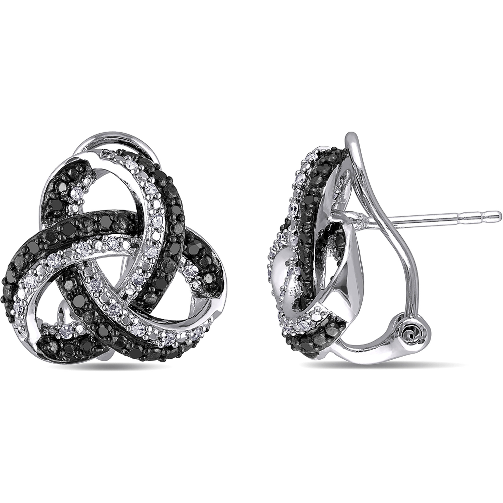 1/2 Carat T.W. Black and White Diamond Sterling Silver Clip-Back Earrings
