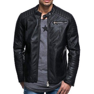 Unomatch Men Fashion Small Collar Leather Jacket (Black Leather Jacket With White Fur Collar)