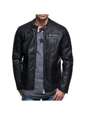 4abac1e7 Product Image Men Fashion Small Collar Leather Jacket