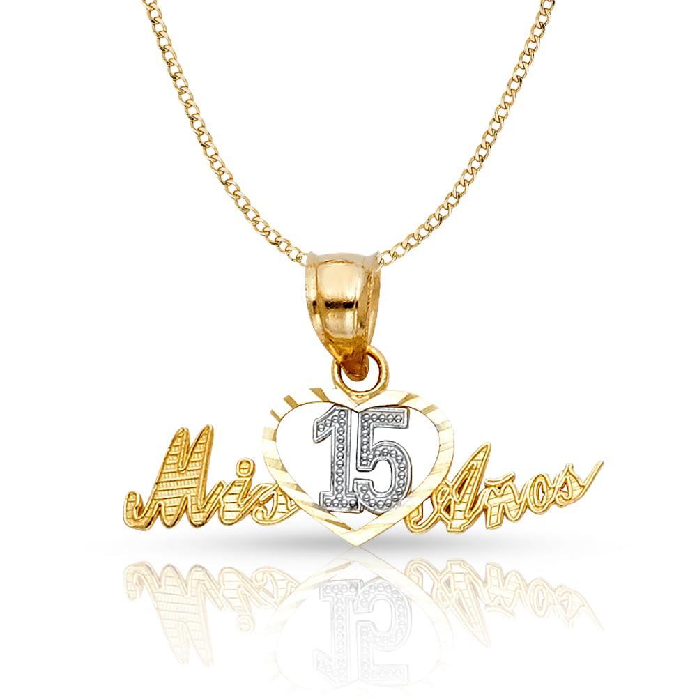 14k White And Yellow Gold 15 Years Years Heart Pendant Charm