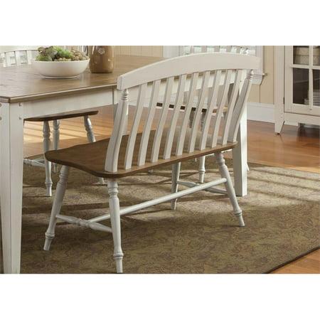 Liberty Furniture Al Fresco III Slat Back Dining Bench in Driftwood