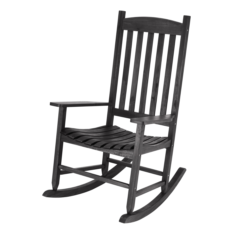 Fantastic Mainstays Black Solid Wood Slat Outdoor Rocking Chair Walmart Com Inzonedesignstudio Interior Chair Design Inzonedesignstudiocom