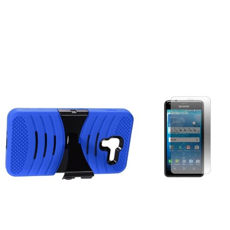 Insten Wave Symbiosis Hybrid 2-Layer Case with stand For Kyocera Hydro View - Blue/Black (+ Glass Screen Protector)