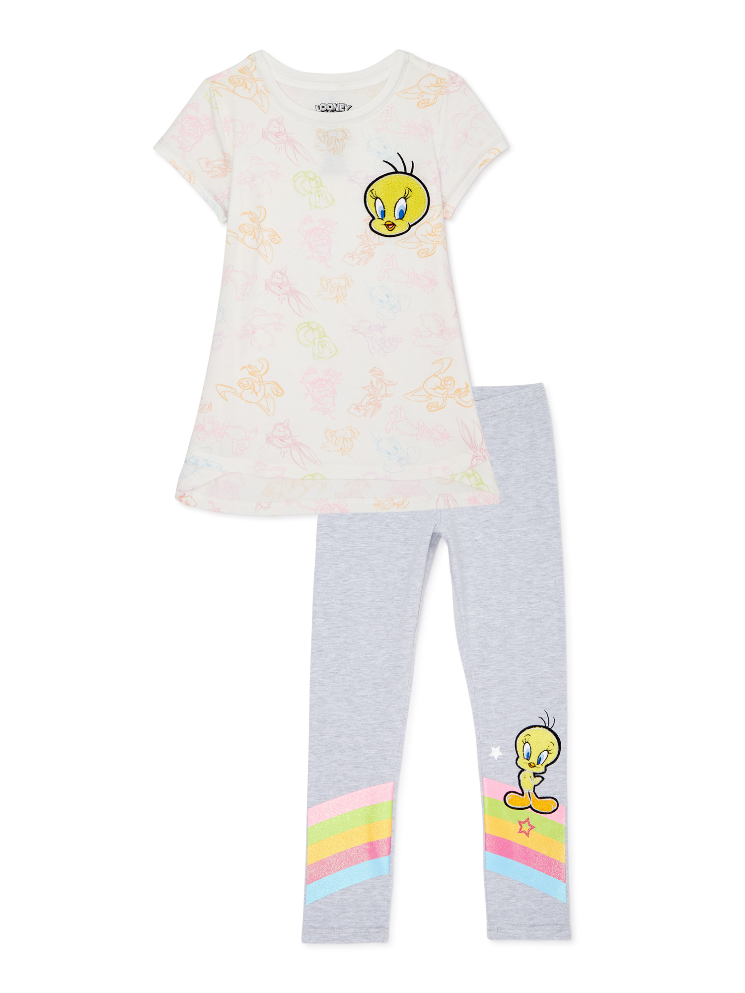 Multi Real Love Little Girls Believe in Your Dreams 2-Piece Tee /& Shorts Set 4