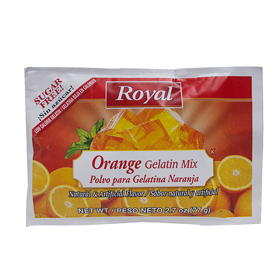 6 PACKS : Royal Sugar Free Orange Gelatin, 2.7 Ounce