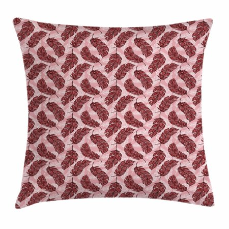 Feather Throw Pillow Cushion Cover, Vibrant Ethnic Patterned Artistic Feathers Peacock Spiritual Boho Hippie, Decorative Square Accent Pillow Case, 20 X 20 Inches, Pale Pink Ruby Red, by Ambesonne