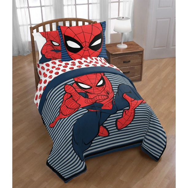 Spider Man Spiderman Boys Twin Reversible Comforter, Sheets