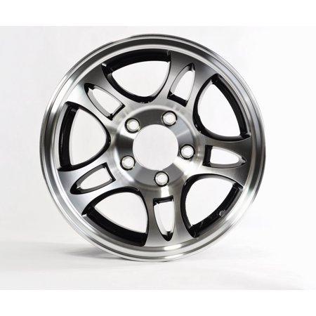 2-Pack Trailer Wheel Rim 5-4.5 Aluminum Split Spoke T03 Black Machined 14 in. (2 Piece Split Rim)