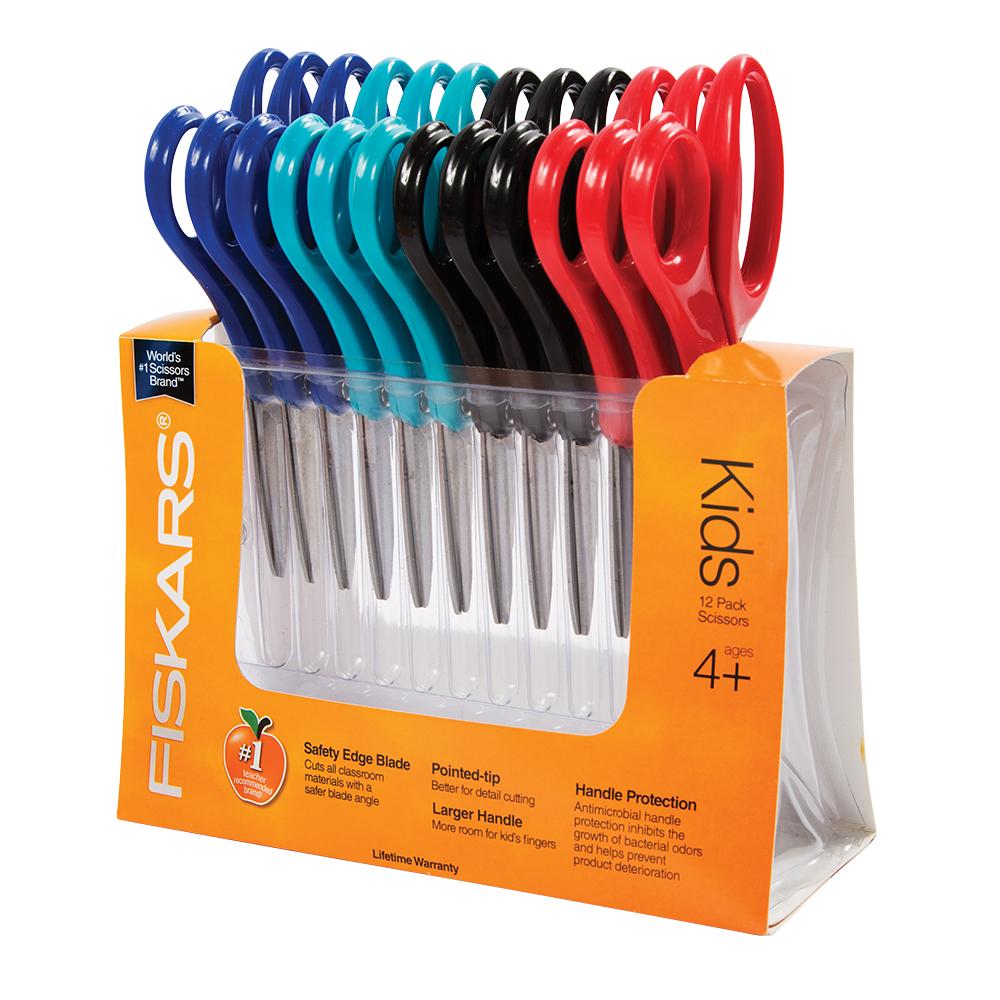 Fiskars Pointed-tip Kids Scissors (5 in.) (12-pack)
