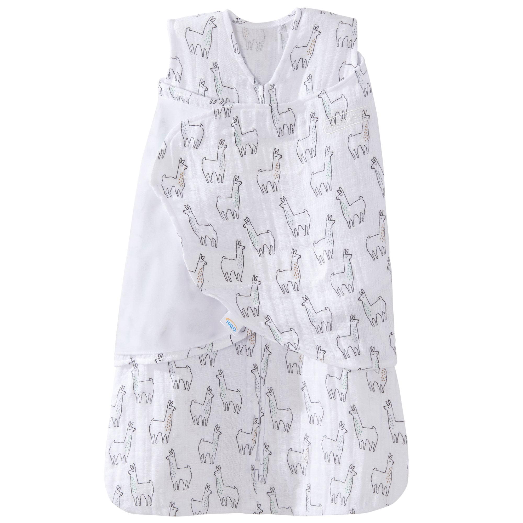 Halo 100% Cotton Muslin Baby Sleepsack Swaddle Wearable Blanket, Llama Print, Small