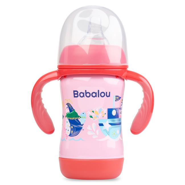 Copia Products BL-180B-PKP 180 ml Babalou Stainless Steel Baby Bottle, Pink Penguin Set