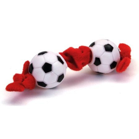 (Coastal Pet Products Lil Pals 84206 46LDOG Plush/Vinyl Squeaker Soccer Ball Tug Dog Toy, 8 Inch)
