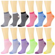 12 Pack Women's Ankle Socks Assorted Colors Size 9-11 Mini-Striped