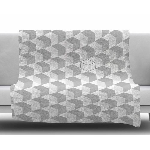 East Urban Home Greyscale Cubed Fleece Blanket