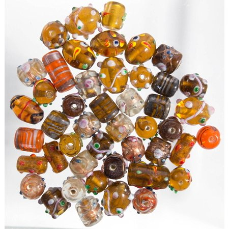 Glass Beads for Jewelry Making for Adults 60-80 Pieces Lampwork Murano Loose Beads for DIY and Fashion Designs – Wholesale Jewelry Craft Supplies (Natural Combo - 5 oz) - Wholesale Crafts Supplies