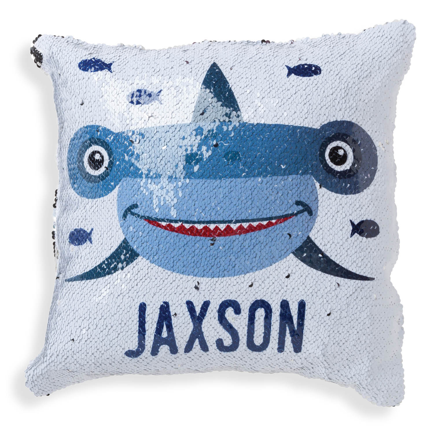 Personalized Reversible Silver Sequin Shark Pillow - 16x16