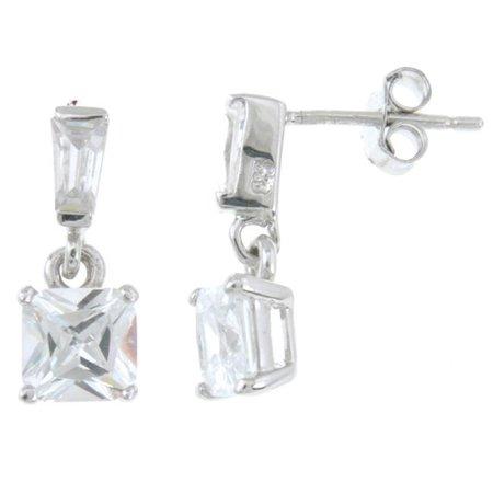 Plutus kke5008 925 Sterling Silver Rhodium Finish Brilliant Very Stylish Bezel Earrings - image 1 of 1