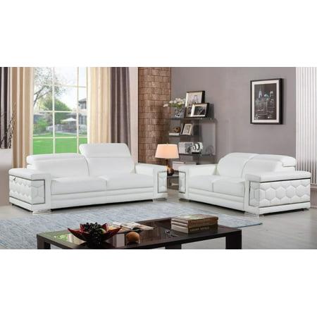 Contemporary White Genuine Italian Leather Sofa Set 2 Pcs Global United 692