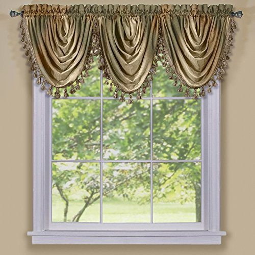 Park Avenue Collection Ombre Waterfall Valance - Earth