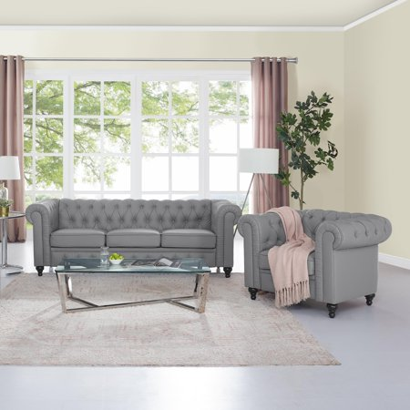 Fabulous Naomi Home Emery Chesterfield Sofa Accent Chair Color Gray Caraccident5 Cool Chair Designs And Ideas Caraccident5Info