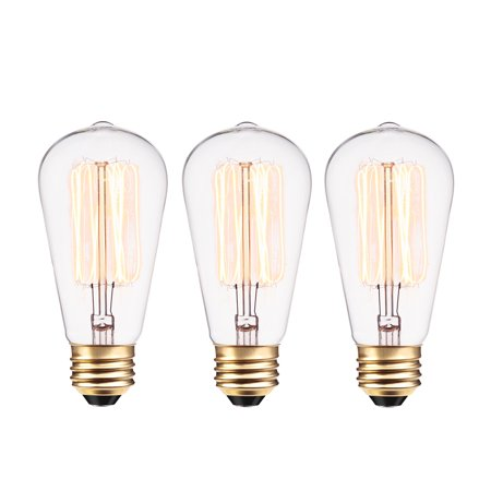 Globe Electric 40W Vintage Edison S60 Squirrel Cage Incandescent Filament Light Bulb (3-Pack), 31324