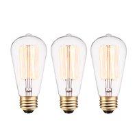 Globe Electric 40W Vintage Edison S60 Squirrel Cage Incandescent Filament Light Bulb (3-Pack), 31324