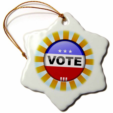 3dRose USA vote button design round pin rays concept election elections voting politics political - Snowflake Ornament, 3-inch