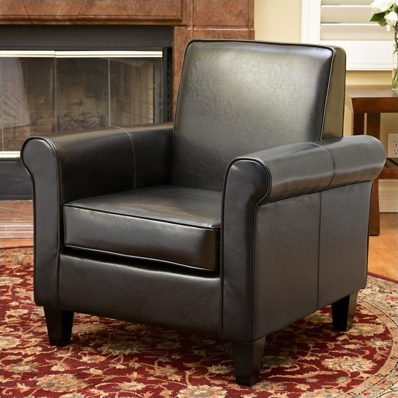 Trent Home William Leather Club Chair in Black by Noble House
