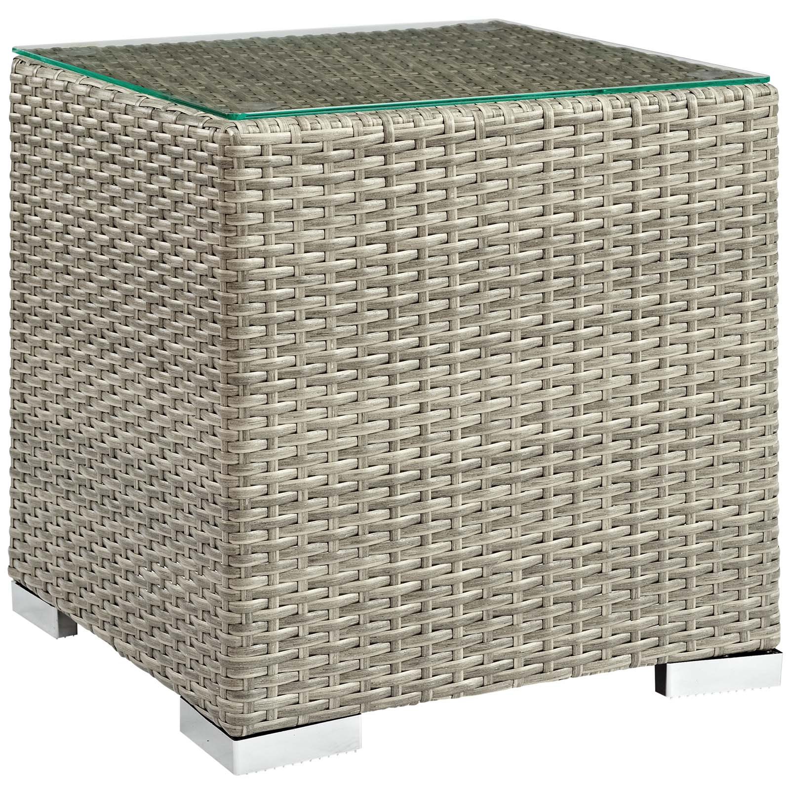 Modway Repose Outdoor Patio Side Table in Light Gray