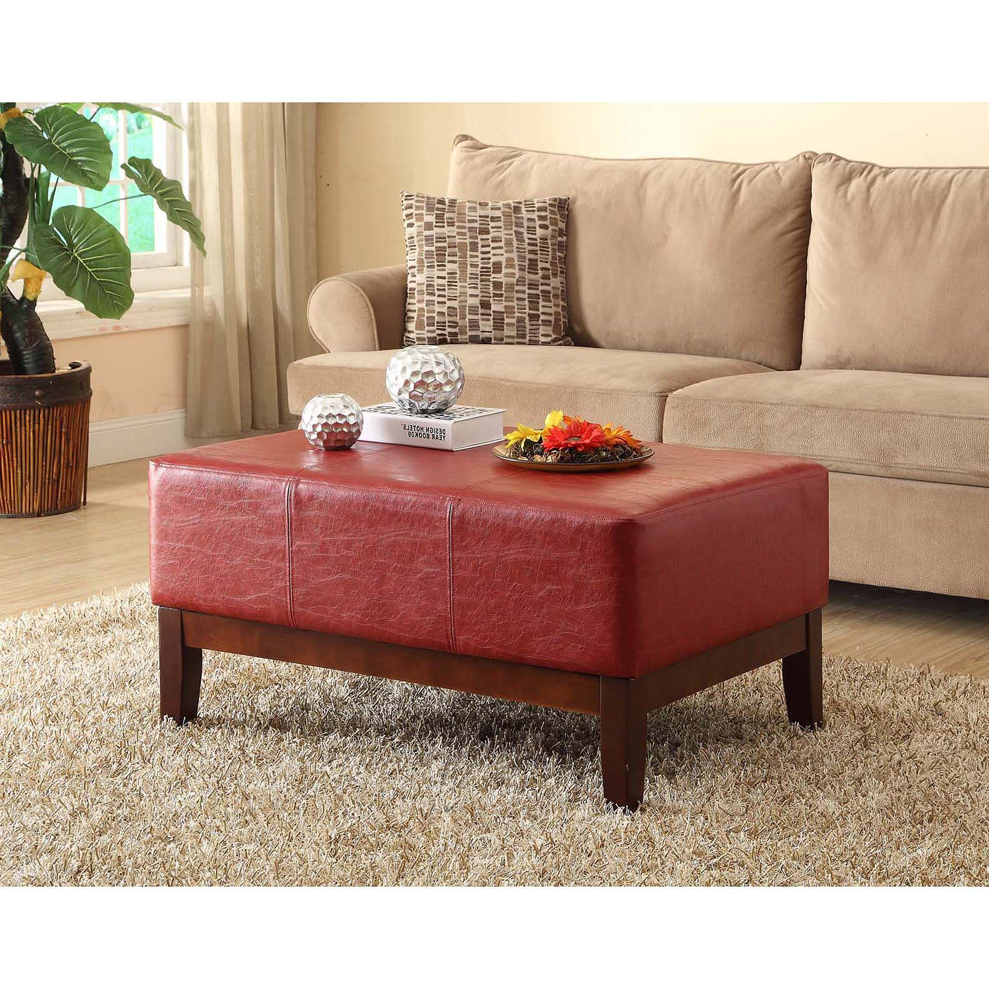 Merveilleux Textured Leather Cocktail Bench Ottoman, Red