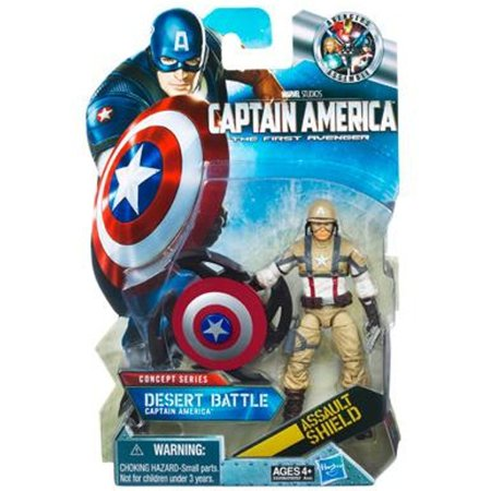 Captain America Movie 4 Inch Action Figure #16 Desert Battle Captain America Assault Shield - 1990 Captain America Movie