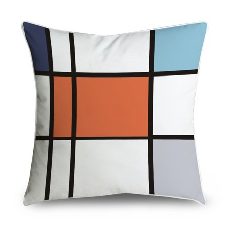 Wendana Color Block Orange Black Gray White Pattern Square Accent Decorative Throw Pillow Case Cushion Cover 18x18
