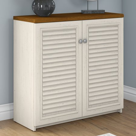 Bush Furniture Fairview Small Storage Cabinet with Doors in Antique White and Tea Maple Antiqued White Wood Cabinet