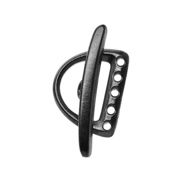 Black Finish Pewter D Ring 5 Hole Toggle Clasp 19.5mm (1)