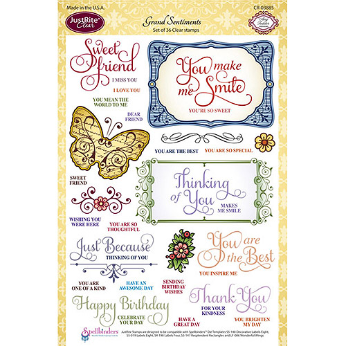 "JustRite Papercraft Clear Stamps 6""X8""-Grand Sentiments"