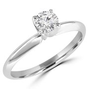 MD170209-5.25 0.37 CT Round Diamond Solitaire Engagement Ring in 10K White Gold - Size 5.25