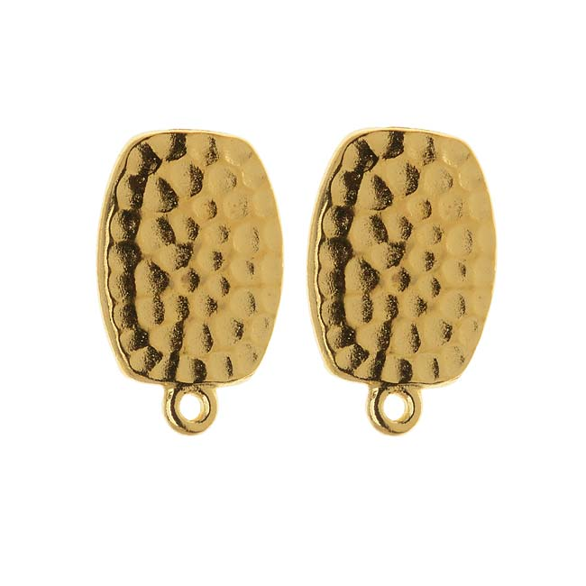 22K Gold Plated Hammered Pewter Clip On Earrings 20mm 1 Pair