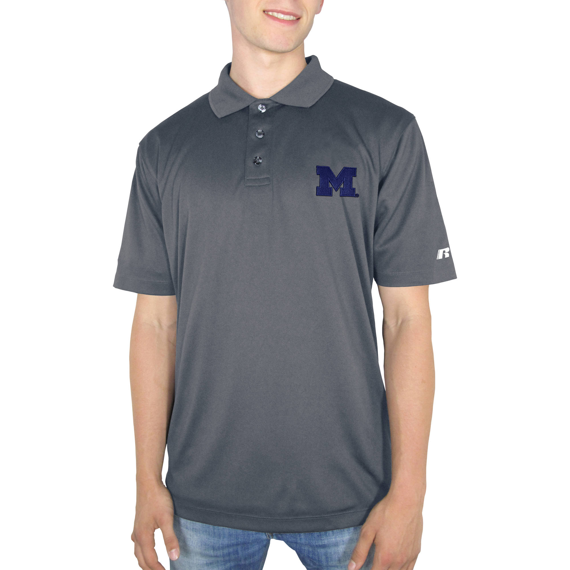 Russell NCAA Michigan Wolverines Men's Synthetic Polo