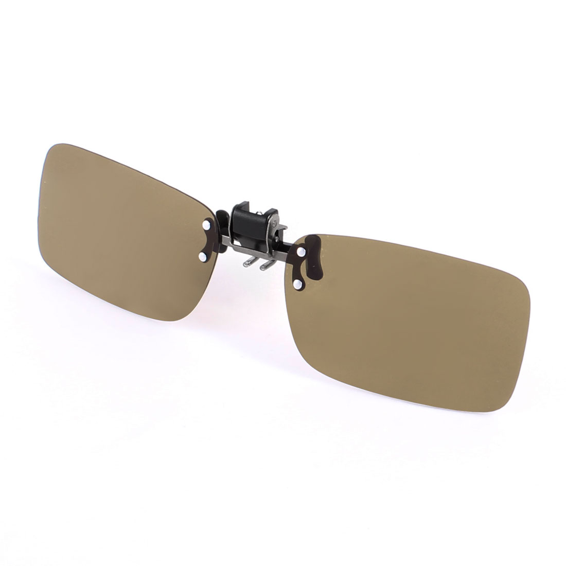 Clip on Polarized Sunglasses Rectangle Brown Lens