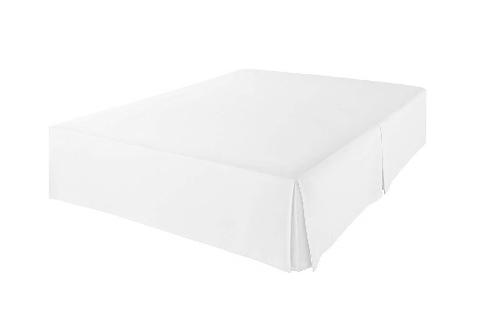 Dust Ruffle Bed Skirt White with Split Corner Cotton 600 Tc /& Easy Fit Drop