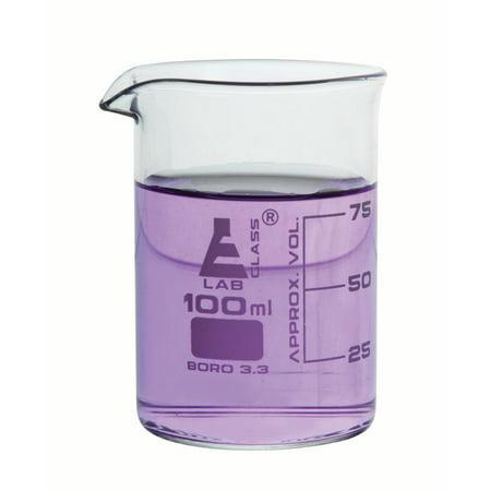 Glass Replacement Beaker (100ml Graduation Beaker Low form, with spout - Eisco Labs Borosilicate Glass - 25ml Graduations)