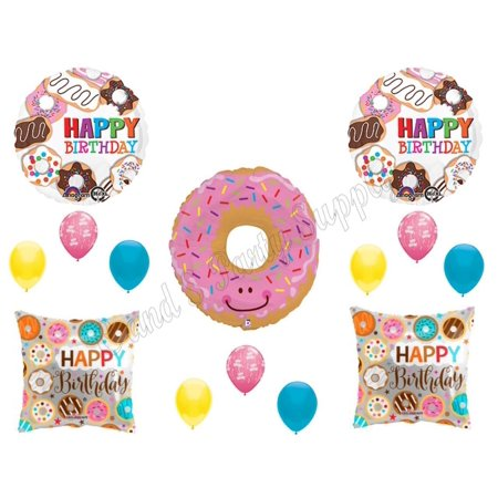 DONUTS Birthday Party Balloons Decoration Supplies 14 pc Doughnut Sweet - Balloons Shop