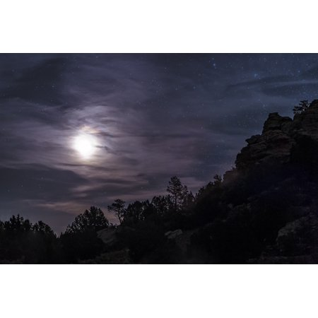 A bright moon rises through clouds over a hill in Oklahoma Stretched Canvas - John DavisStocktrek Images (35 x 23) - Halloween Stores In Oklahoma